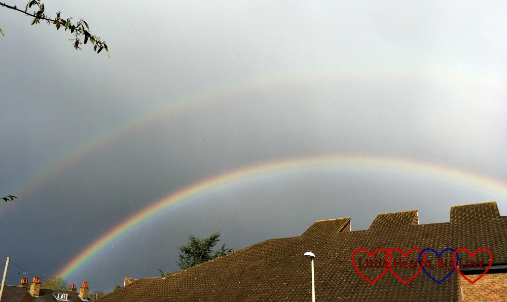 A beautiful double rainbow in the sky