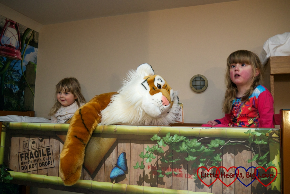Jessica and Sophie sitting on the top bunk with the cuddly tiger