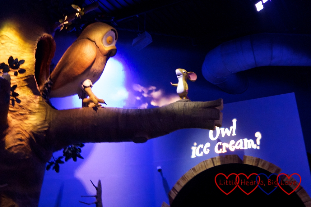The owl and the mouse from the Gruffalo in the Gruffalo River Ride Adventure