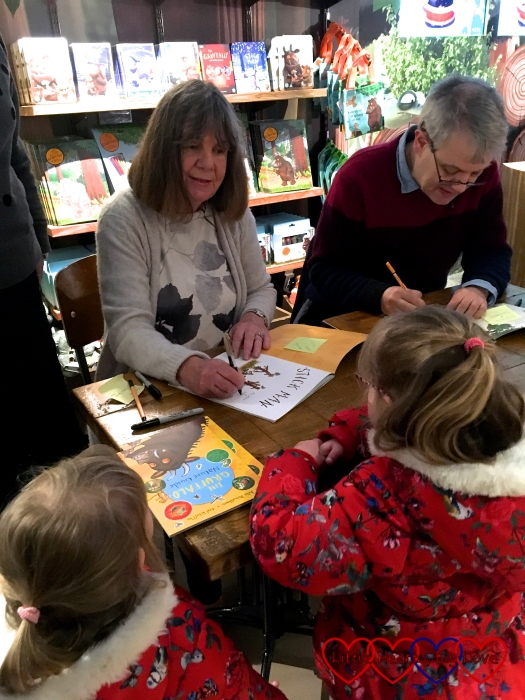 Meeting Julia Donaldson and Axel Scheffler and having our books signed