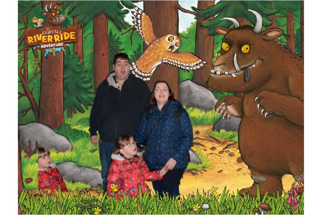 Me, hubby, Jessica and Sophie with the characters from the Gruffalo in our green screen photo