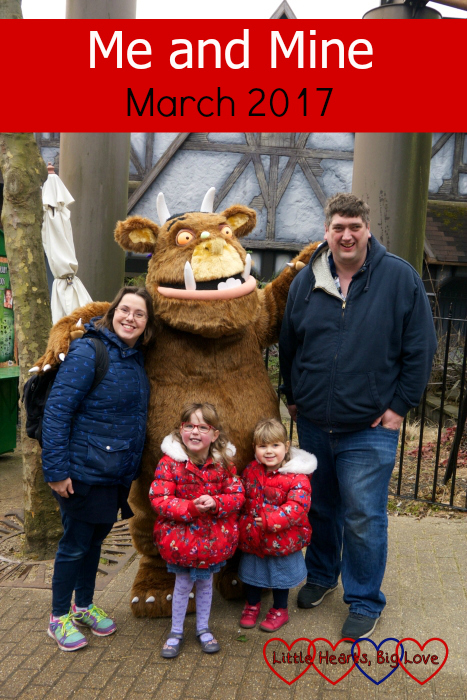 Me, hubby, Jessica and Sophie with the Gruffalo at Chessington World of Adventures: Me and Mine - March 2017