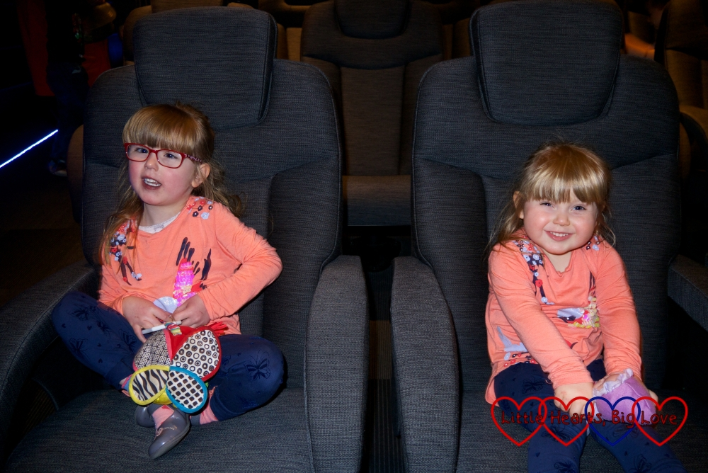 Jessica and Sophie sitting in their seats ready for the film to start