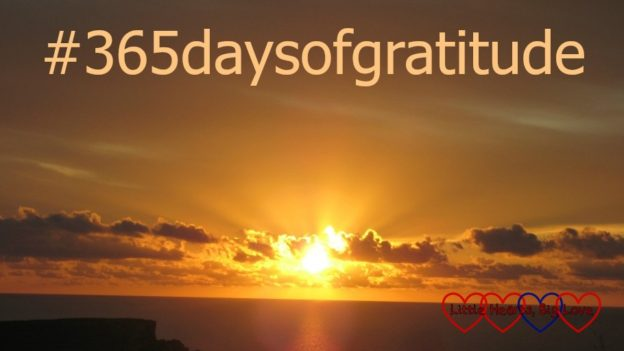 "A sunset in Malta with the text ""#365daysofgratitude"""