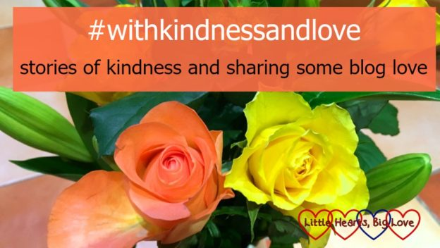 "A bouquet of orange and yellow roses with the text ""#withkindnessandlove - stories of kindness and sharing some blog love"""