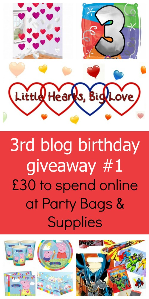 """A curtain of hearts, a 3rd birthday balloon, Peppa Pig party tableware and a Batman party bag - """"Little Hearts, Big Love 3rd blog birthday giveaway #1 - £30 to spend online at Party Bags & Supplies"""""""