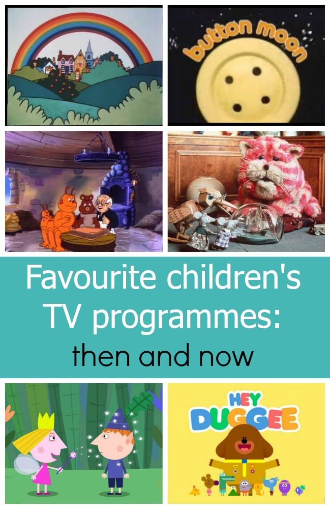 "A collage of images from children's TV programmes - Rainbow, Button Moon, Teddy Ruxpin, Bagpuss, Ben and Holly and Hey Duggee - ""Favourite children's TV programmes - then and now"""