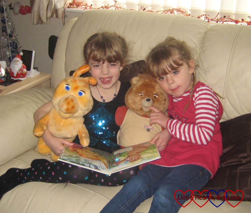 My nieces with the talking Teddy Ruxpin and Grubby toys