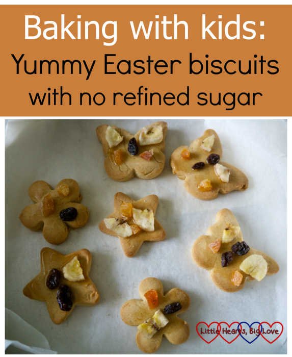"""Biscuits decorated with dried fruit on baking paper - """"Baking with kids: yummy Easter biscuits with no refined sugar"""""""