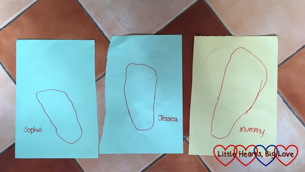 Sophie's, Jessica's and Mummy's feet drawn on pieces of coloured paper