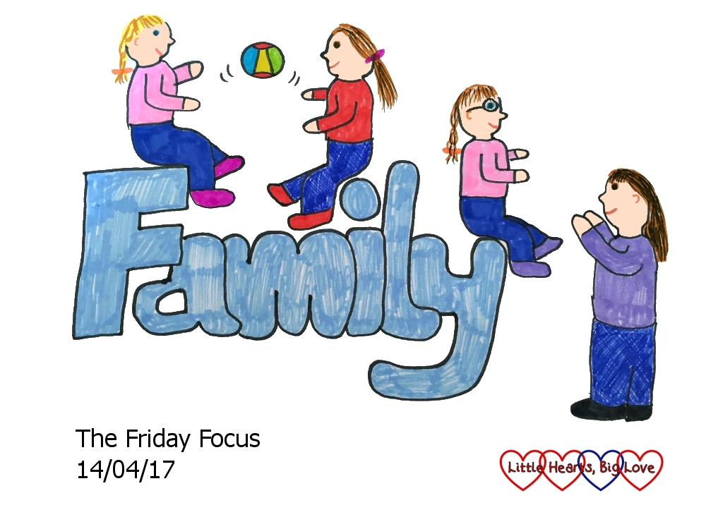 "A doodle of my girls having fun with their cousins with the word ""Family"" - this week's word of the week"
