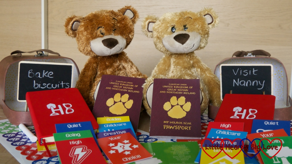 Two My Holibob Bear Deluxes with suitcases, chalboards, Pawsports, journals, stickers and activity cards
