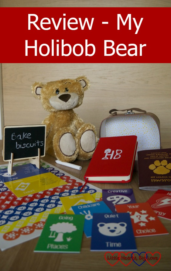 "A My Holibob Bear Deluxe with suitcase, ""Pawsport"", activity cards, stickers, journal and chalkboard - ""Review - My Holibob Bear"""
