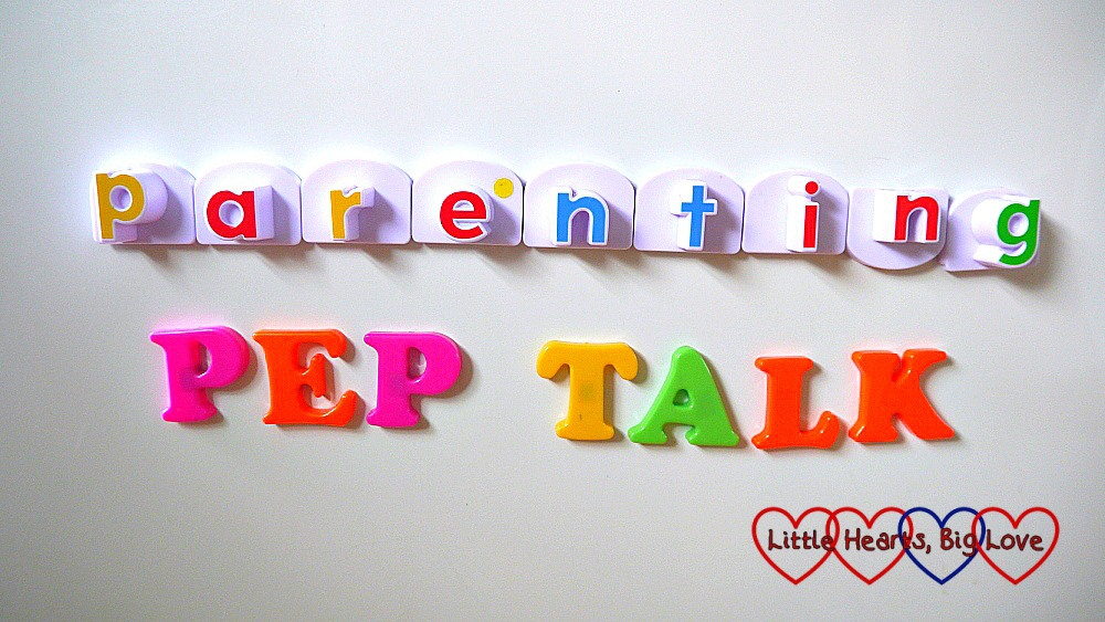 The words Parenting Pep Talk spelled out in magnetic letters on the fridge