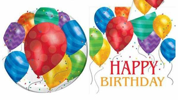 Happy Birthday balloon-themed party tableware