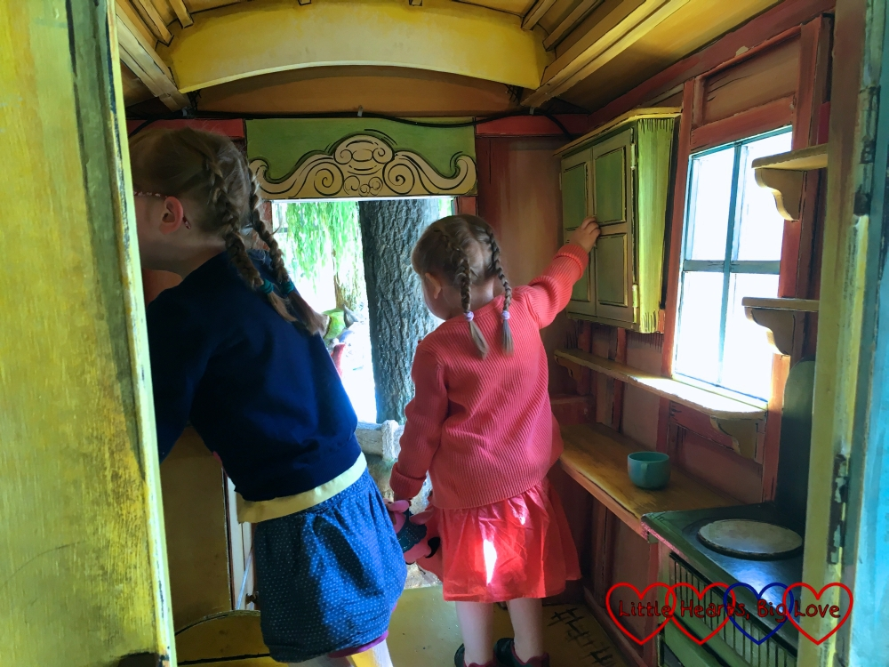 Jessica and Sophie exploring the inside of Toad's caravan