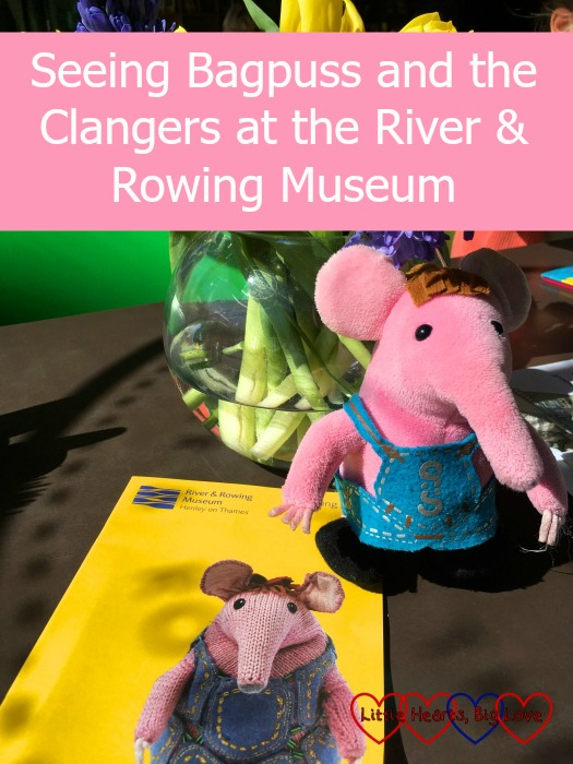 "A cuddly toy Small Clanger with a leaflet about the Clangers, Bagpuss & Co exhibition - ""Seeing Bagpuss and the Clangers at the River & Rowing Museum"""