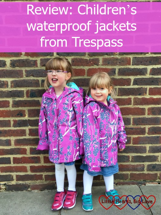 Jessica and Sophie wearing their Imogene waterproof jackets from Trespass