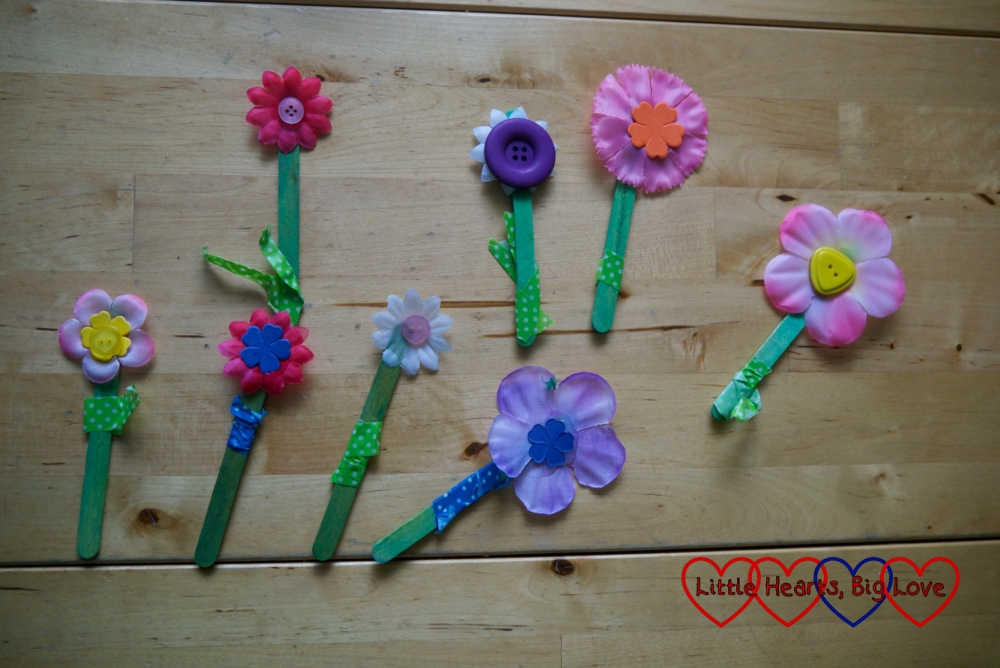 A selection of craft stick flowers left out to dry