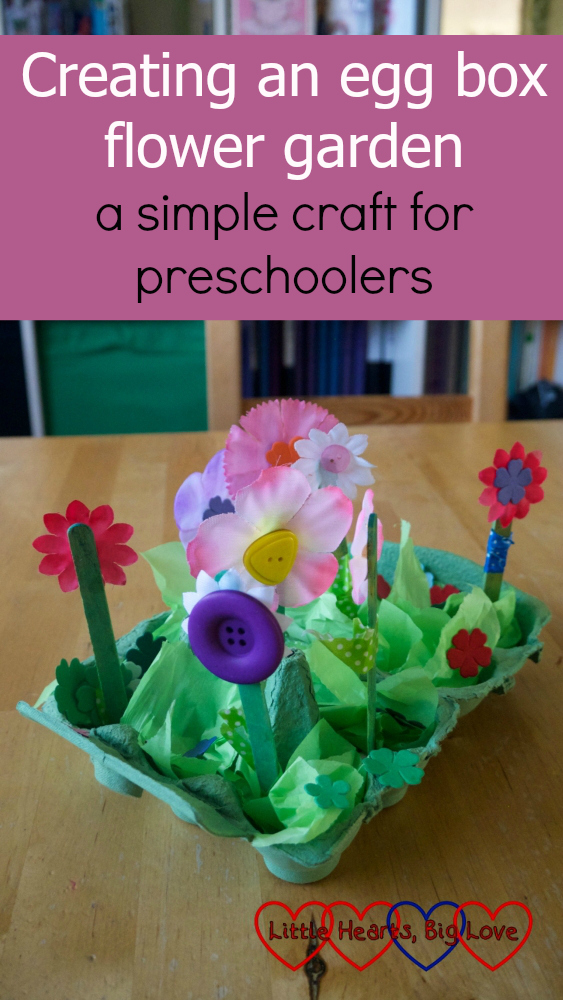 "A flower garden created in an egg box - ""Creating an egg box flower garden - a simple craft for preschoolers"""