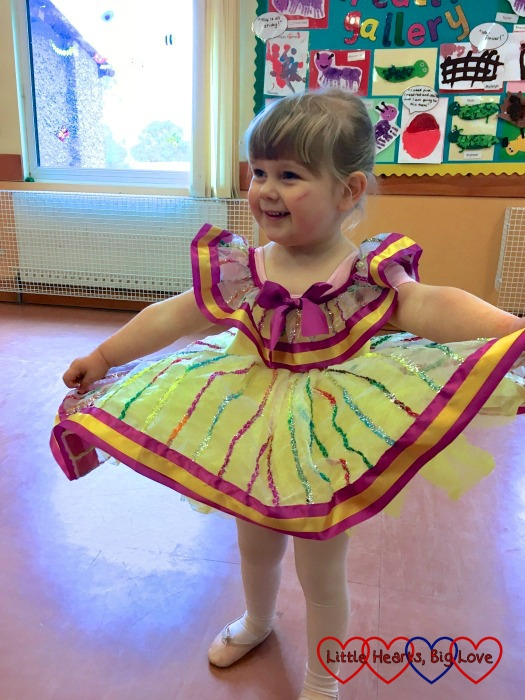 Sophie trying on her ballet show costume