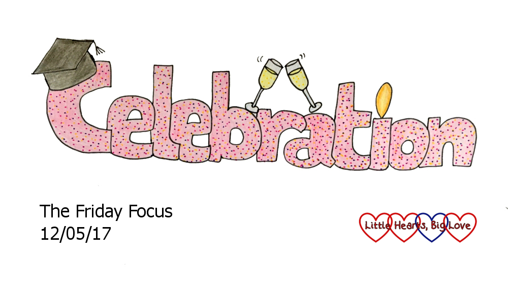"Celebration - this week's word of the week. A cartoon of the word ""celebration"" with doodles of a graduation cap, wine glasses and a birthday candle"
