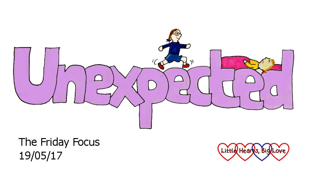 """Unexpected - this week's word of the week. A doodle of the word """"unexpected"""" with a cartoon Jessica running along the top and a cartoon Sophie asleep between the 't' and 'd'"""
