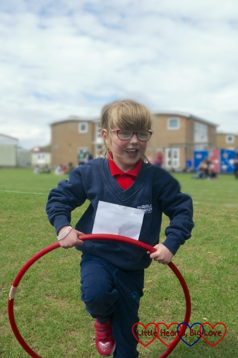Jessica with a hula hoop at her Girls' Brigade sports day