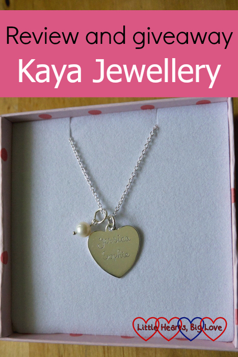 "A heart shaped necklace with ""Jessica"" and ""Sophie"" engraved on it - ""Review and giveaway - Kaya Jewellery"""