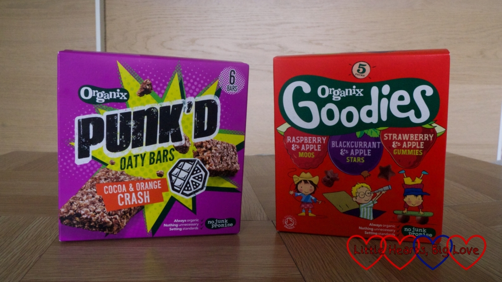 Organix Punk'd cereal bars and Organix Goodies fruit gummies