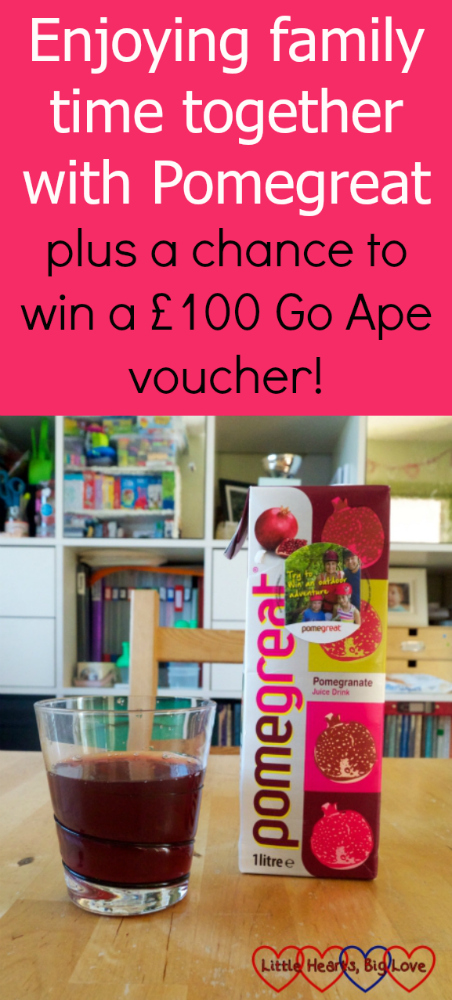 "A carton of Pomegreat next to a glass filled with Pomegreat juice. ""Enjoying family time together with Pomegreat – plus a chance to win a £100 Go Ape voucher!"""