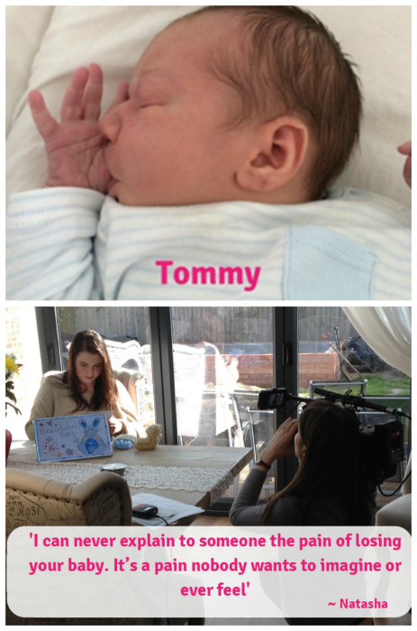 "A picture of baby Tommy (top) and Natasha being filmed (bottom) with the text ""I can never explain to someone the pain of losing your baby. It's a pain nobody wants to imagine or ever feel ~ Natasha"""