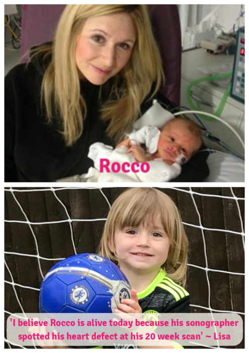 "Baby Rocco with mum Lisa (top) Rocco now with a football and the text ""I believe Rocco is alive today because his sonographer spotted his heart defect before he was born ~ Lisa"""