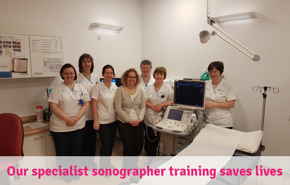 "A group of sonographers in a scan room and the text ""Our specialist sonographer training saves lives"""