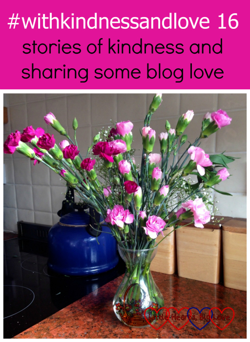"A bouquet of pink carnations in a hand-painted glass vase - ""#withkindnessandlove 16 - stories of kindness and sharing some blog love"""