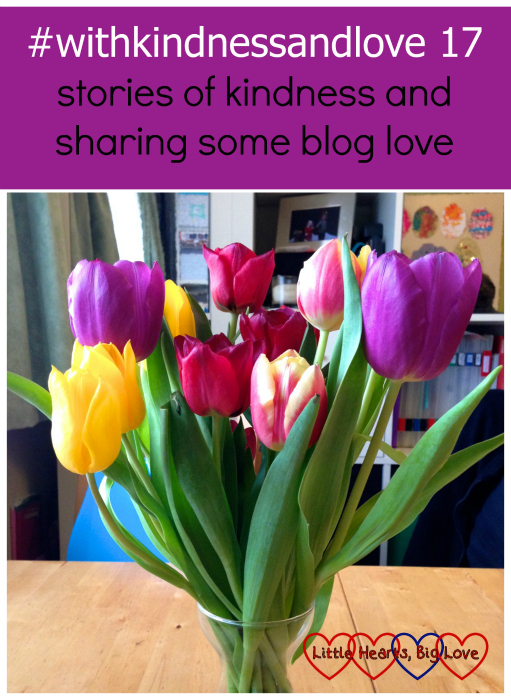 "A vase of purple, yellow, red and pink tulips - ""#withkindnessandlove 17 - stories of kindness and sharing some blog love"""