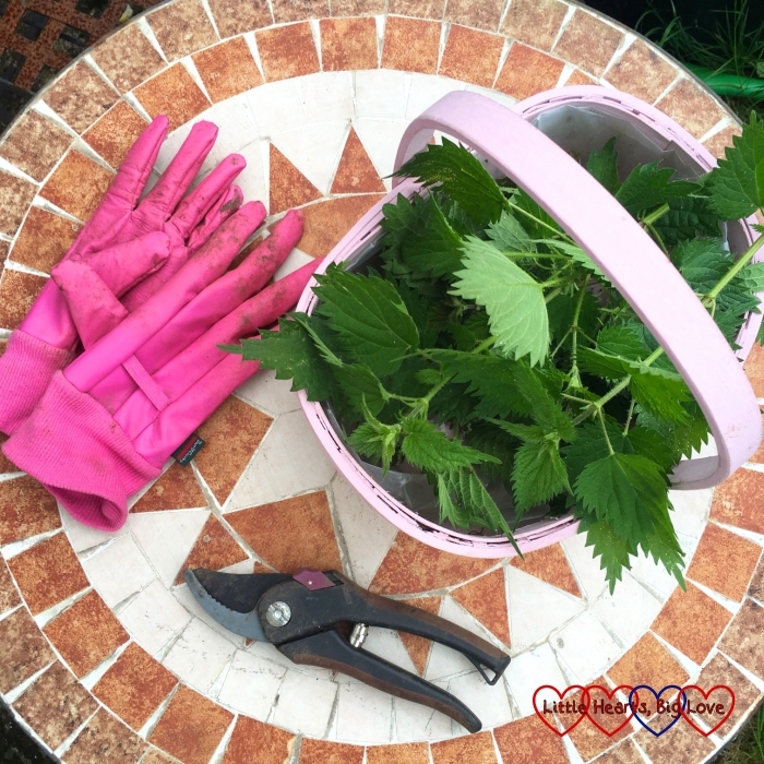A basket of nettles, pink gardening gloves and a pair of secateurs on a mosaic tiled round table