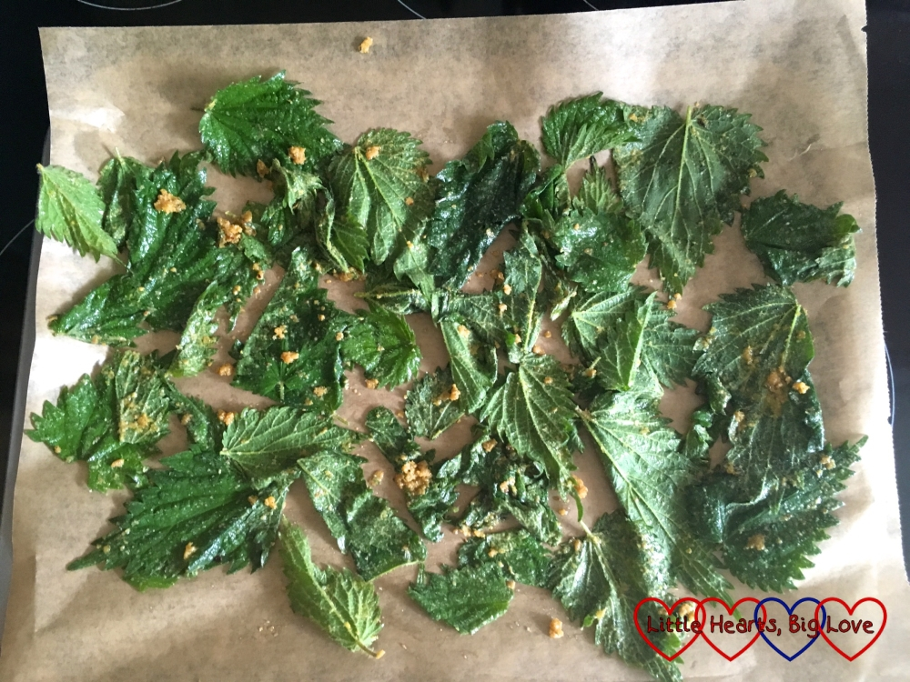 The seasoned nettle leaves on a baking sheet ready to go in the oven