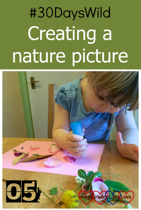 Sophie doing some glueing and sticking and creating a nature picture for #30DaysWild