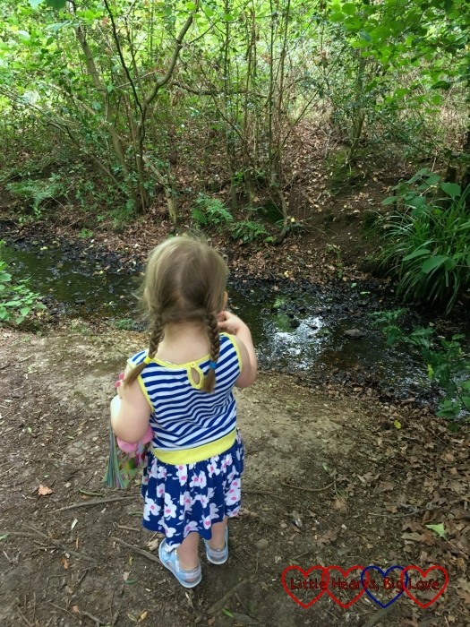Sophie stopping to look at a stream