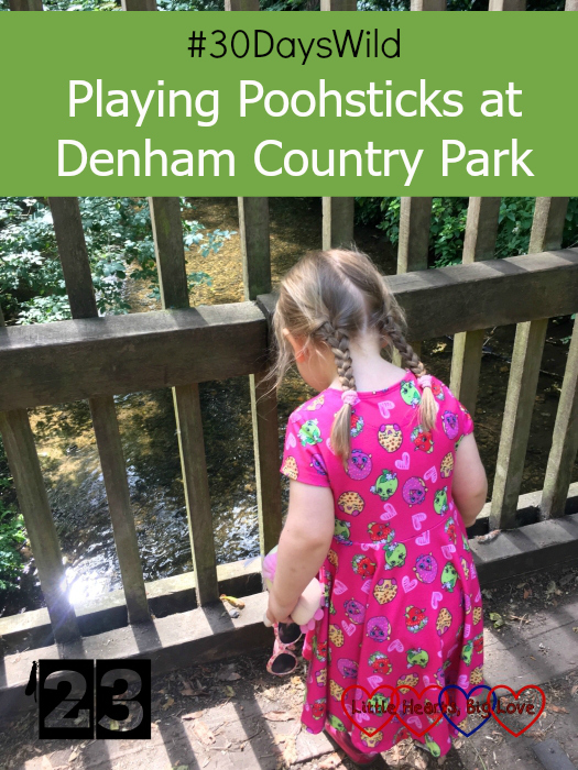 """Sophie looking down at the stream whilst standing on a bridge - """"#30DaysWild - Playing Poohsticks at Denham Country Park"""""""