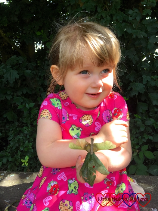 Sophie holding her fairy made from a twig, a sycamore seed and a leaf