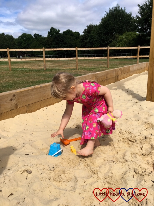 Sophie playing in the sandpit at Denham Country Park