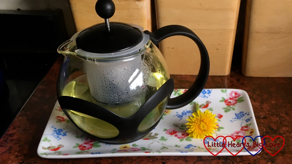 A pot of dandelion flower tea on a tray with a dandelion flower