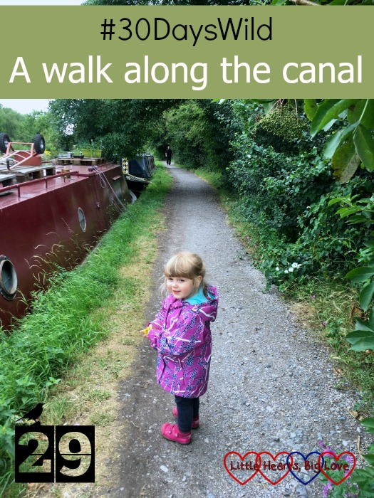 "Sophie walking along the tow path next to a dark red narrowboat - ""#30DaysWild - A walk along the canal"""