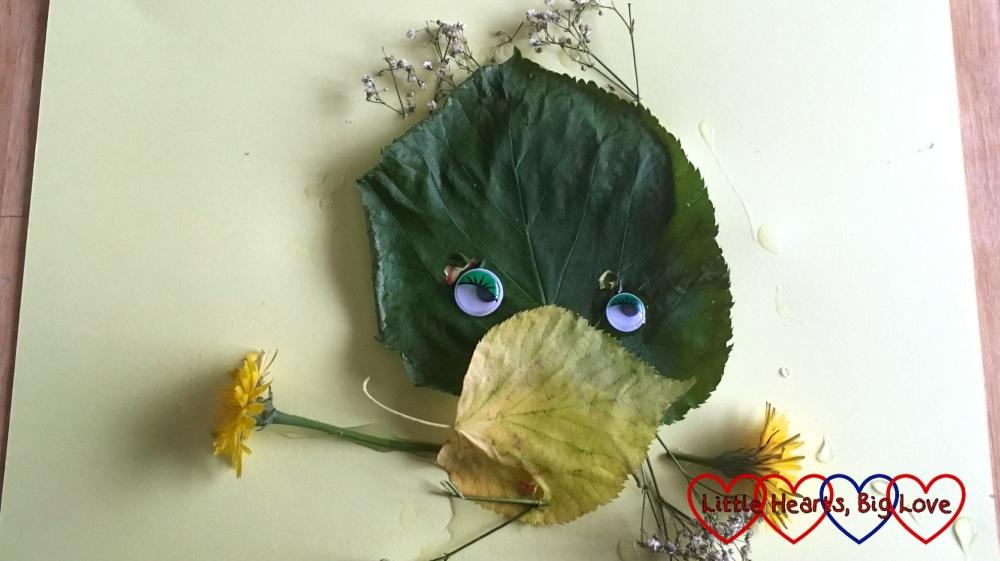 Sophie's leaf monster with dandelion arms