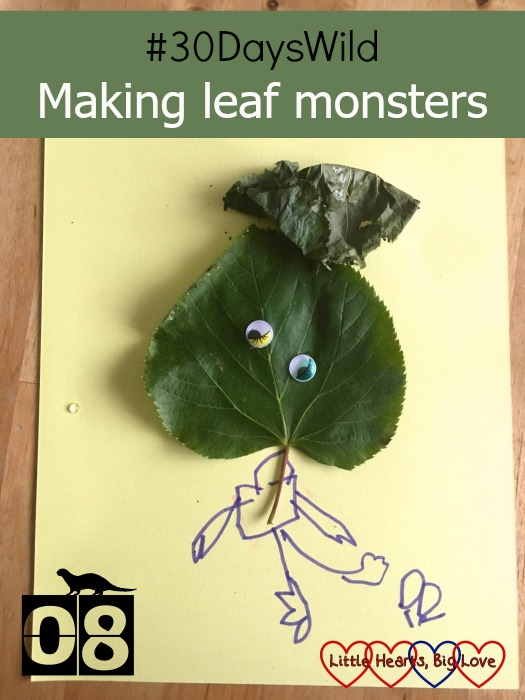 Jessica's leaf monster with one leaf for the face, one leaf for the hair and a body drawn on with felt tip