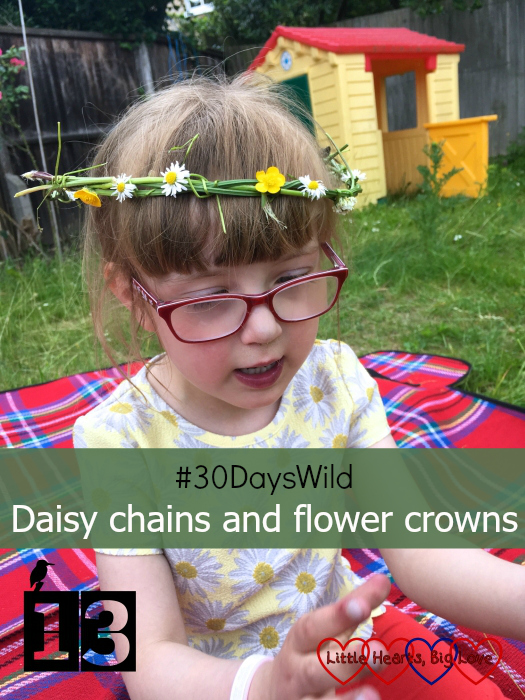 """Jessica wearing a flower crown made of woven grass, daisies, buttercups and white clover - """"#30DaysWild - Daisy chains and flower crowns"""""""