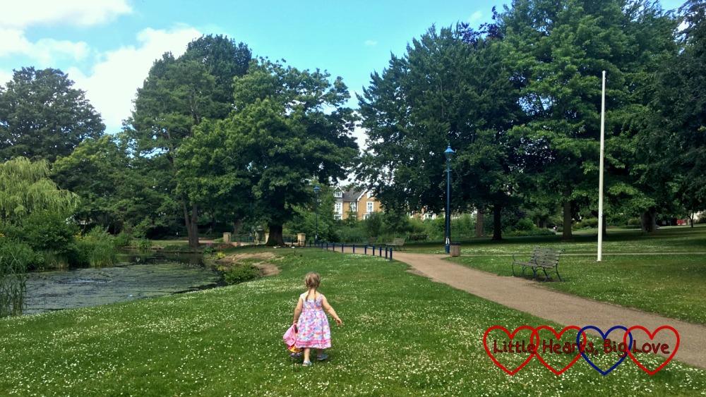 Sophie exploring at Herschel Park