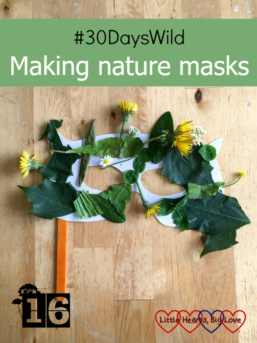 "A white cardboard mask covered in leaves and flowers - ""#30DaysWild - Making nature masks"""